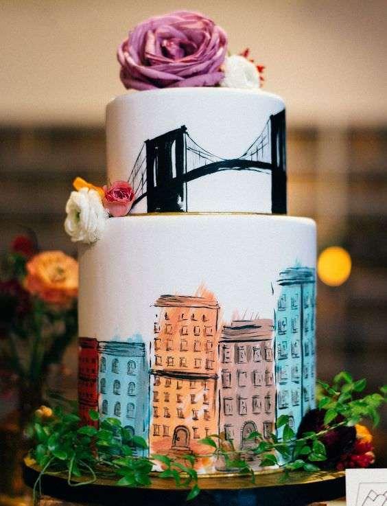 Şehir Temalı Renkli Pasta