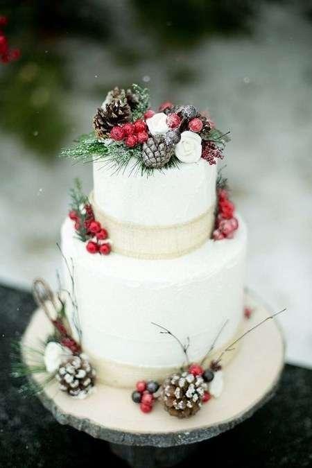 Kozalak ve Kokinayla Süslenmiş Kış Temalı Pasta