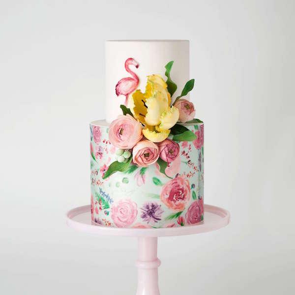 Çiçek ve Flamingo Detaylı Pasta