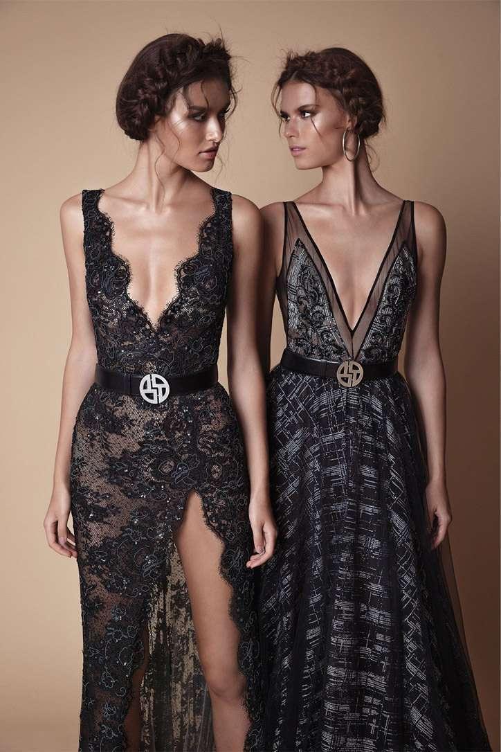 Berta Derin Göğüs Dekolteli Siyah Elbiseler