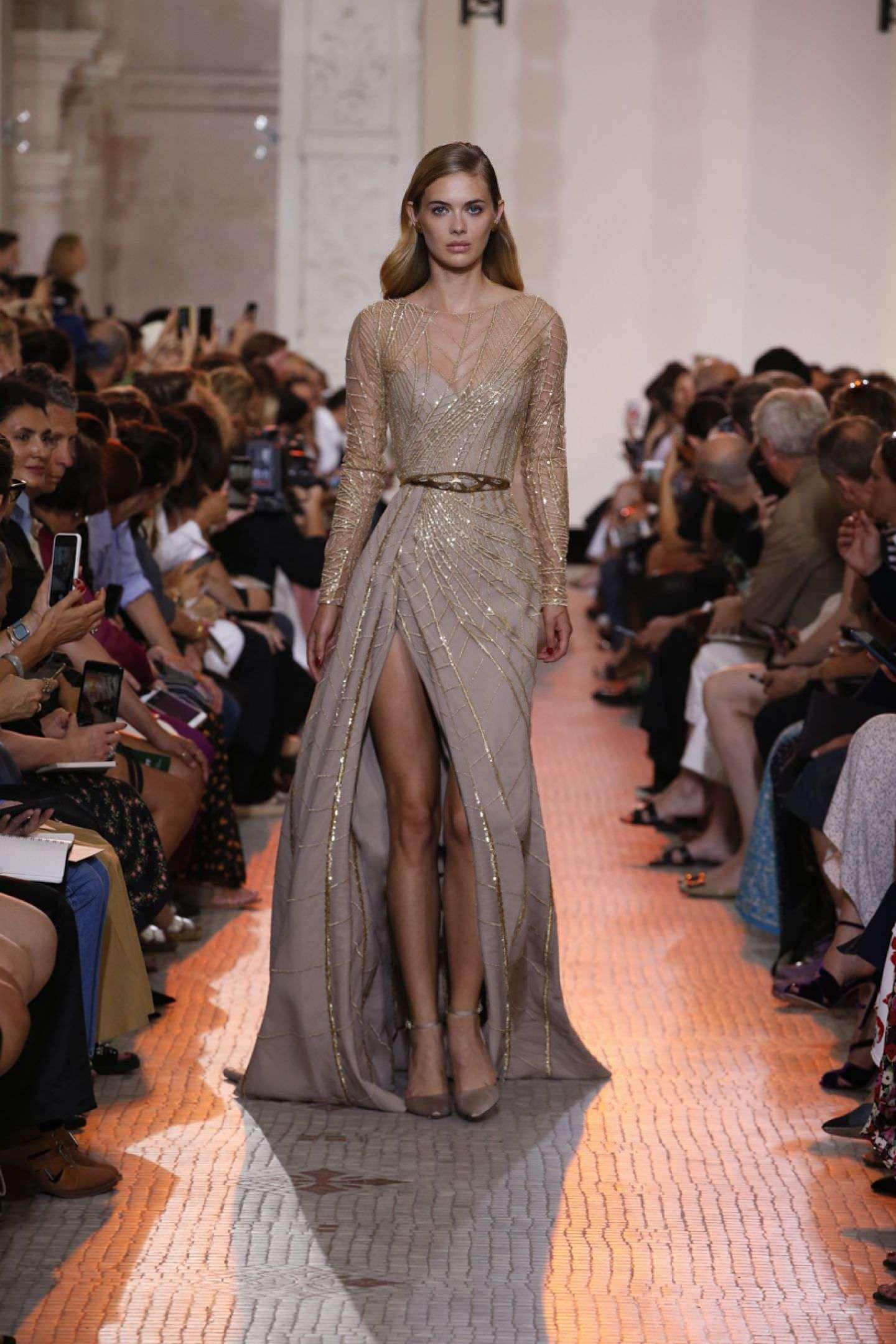 Elie Saab Derin Yırtmaçlı Vizon Elbise