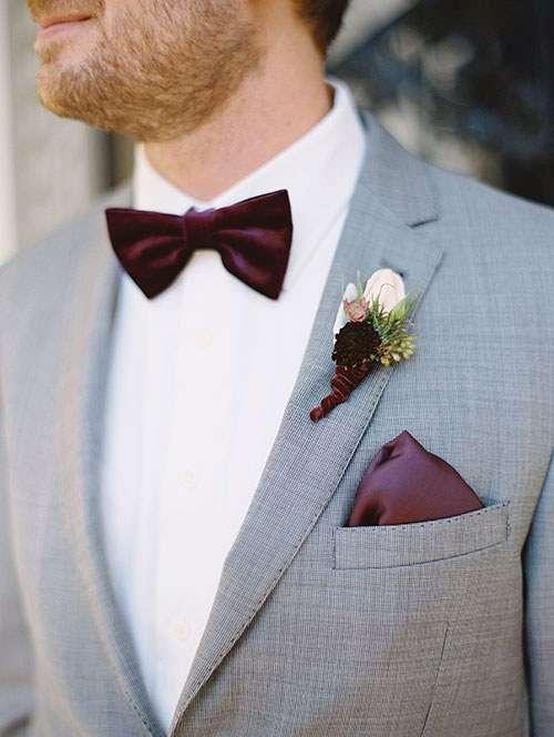 Bordo Papyon, Mendil ve Yaka Çiçeği Detaylı Gri Takım Elbise Damatlık