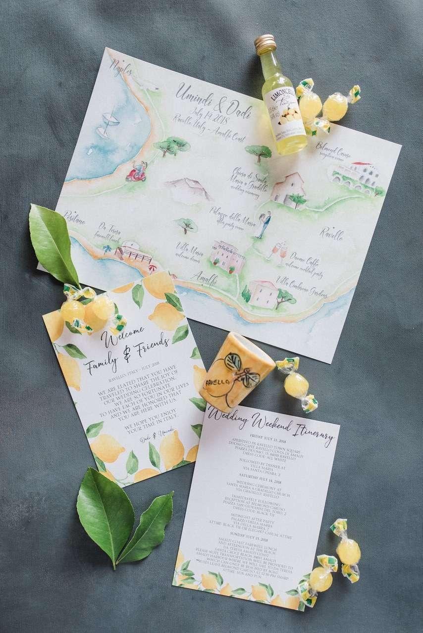 İtalya Düğünü Limon Temalı Davetiye
