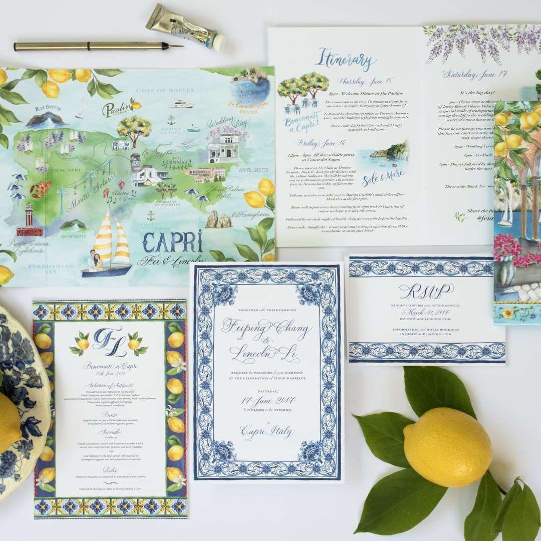 İtalya Destinasyon Düğünü Limon Temalı Düğün Davetiyesi