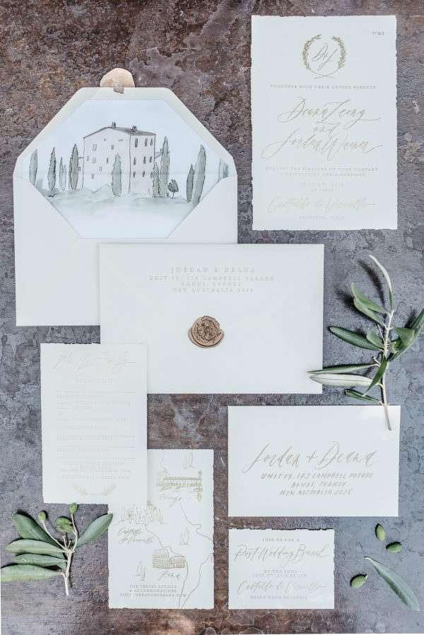 Düğün Mekanı İllüstrasyonlu Klasik Beyaz Davetiye
