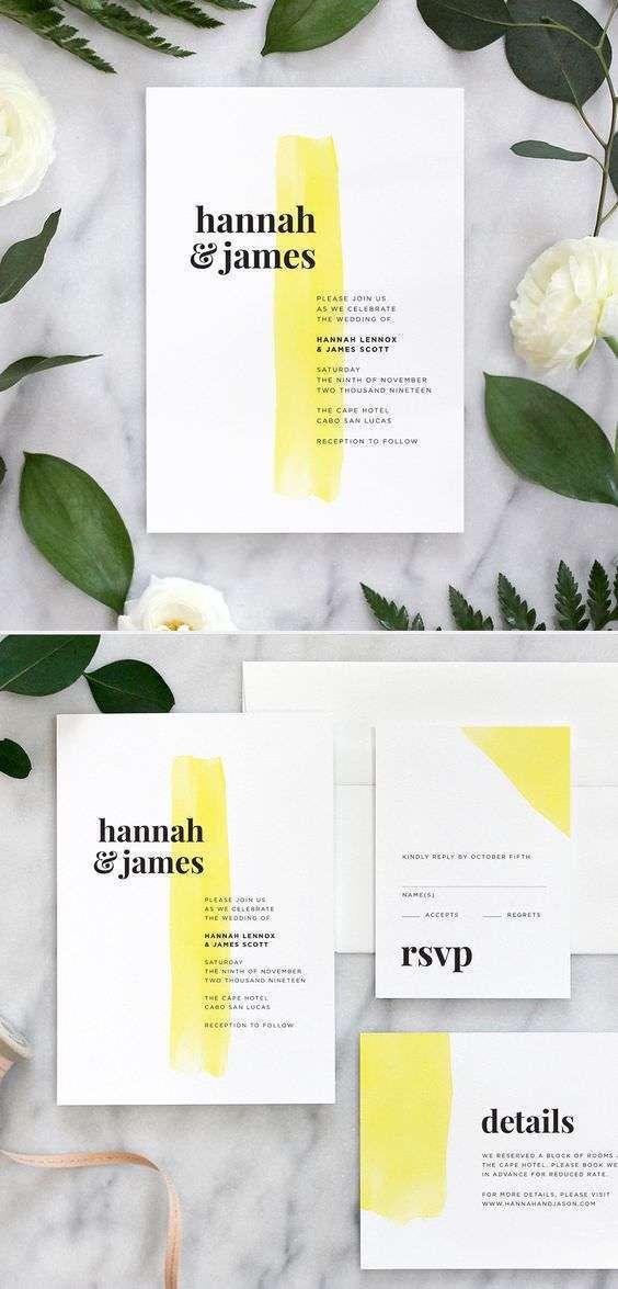 Sarı Dokunuşlu Modern Düğün Davetiyesi