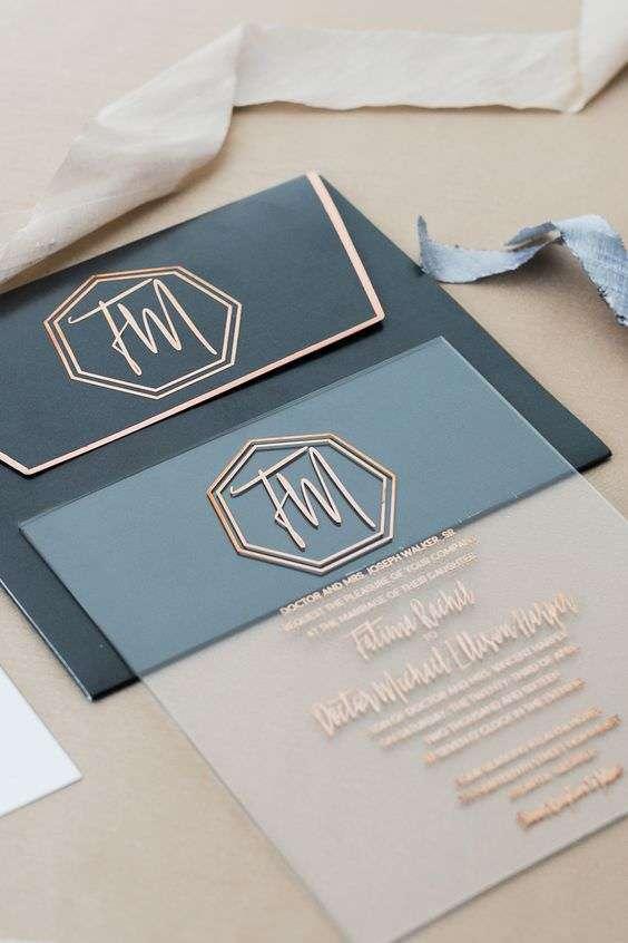 Çiftin Baş Harflerinden Logolu Transparan Davetiye