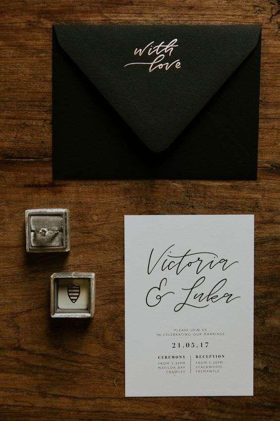 Siyah Beyaz Sade Düğün Davetiyesi