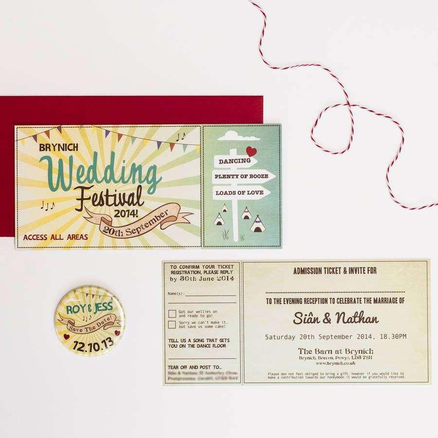 Festival Bileti Şeklinde Düğün Davetiyesi