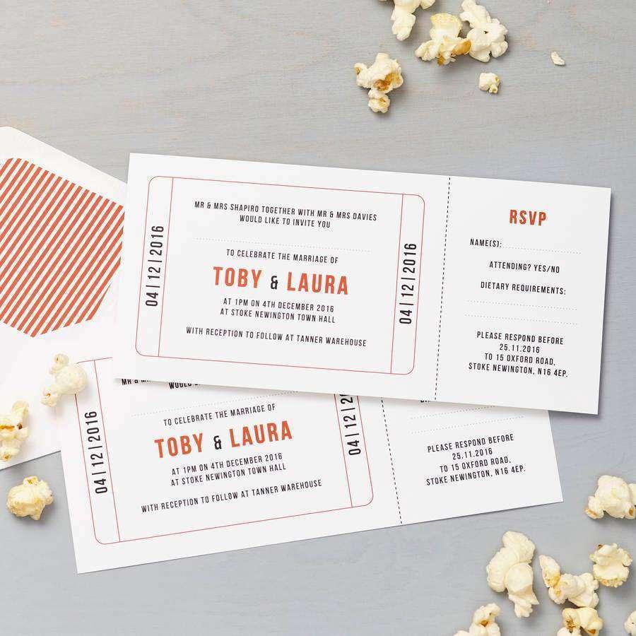 Sinema Bileti Şeklinde Düğün Davetiyesi