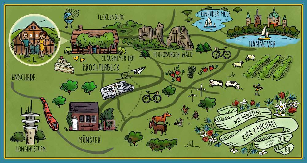 İllüstrasyon Harita Şeklinde Düğün Davetiyesi
