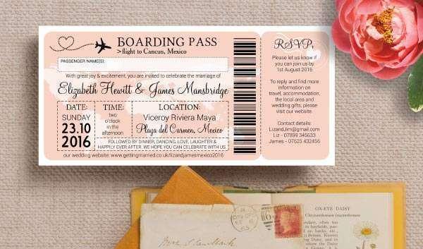 Uçak Bileti Şeklinde Düğün Davetiyesi