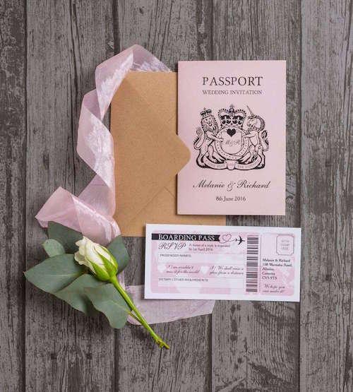 Pasaport ve Uçak Bileti Şeklinde Düğün Davetiyesi
