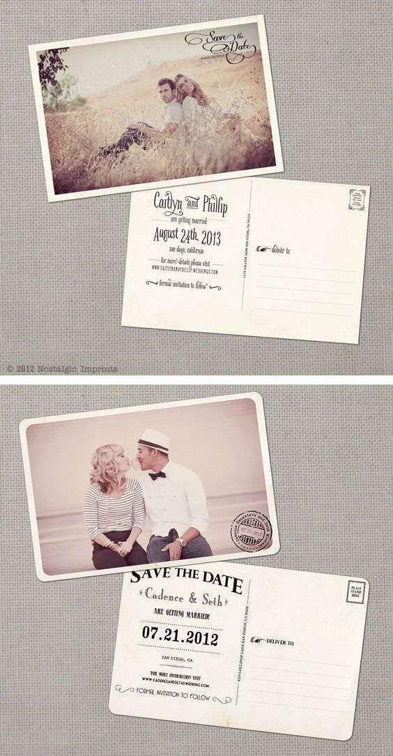 Kartpostal Şeklinde Nostaljik Düğün Davetiyesi