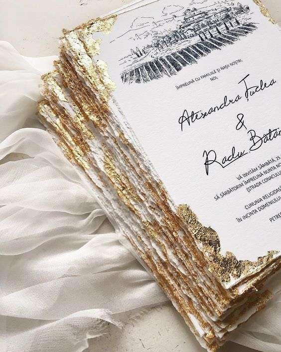 Kenarları Altın Rengi Kaplamalı Düğün Davetiyesi