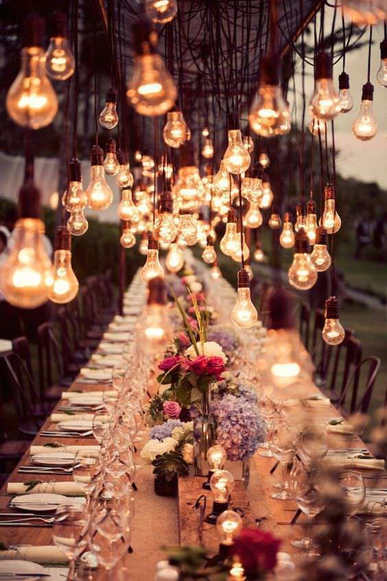 Ampullerle Romantik Masa Aydınlatması