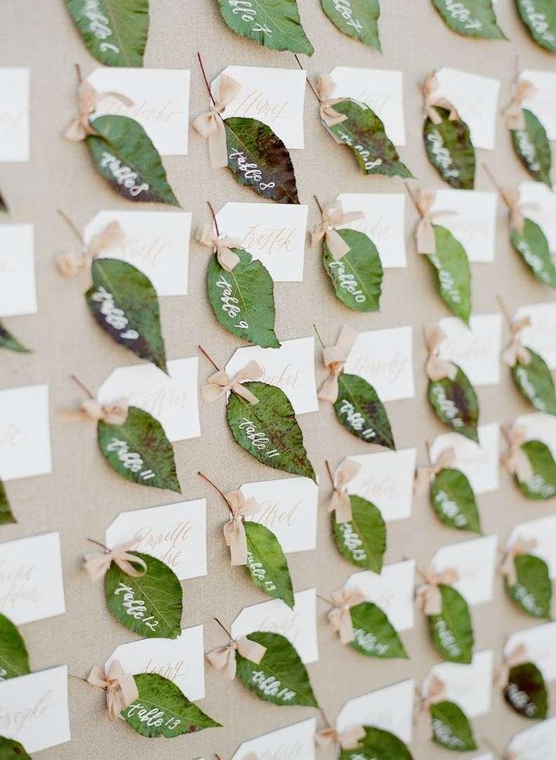 Yaprakların Üzerine Masa Numaraları Yazılı Masa Düzeni Panosu