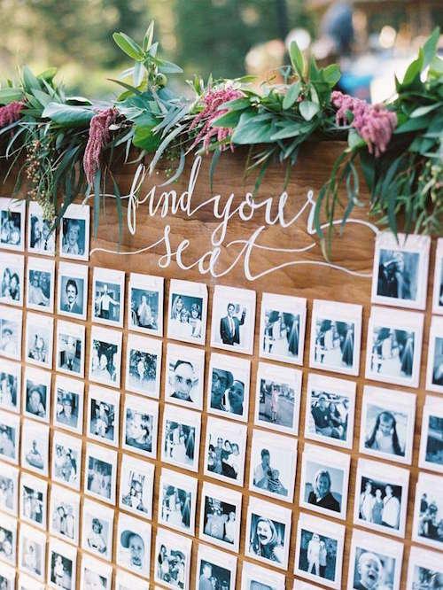 Davetlilerin Polaroid Fotoğraflarının Kullanıldığı Oturma Düzeni Panosu