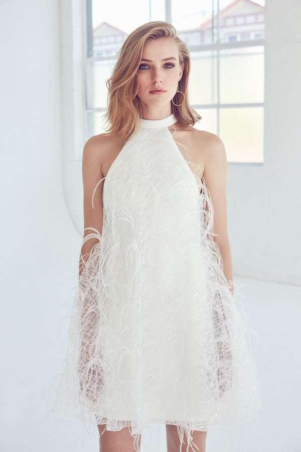 Suzanne Harward Beyaz Tüy Detaylı Boğazlı Elbise