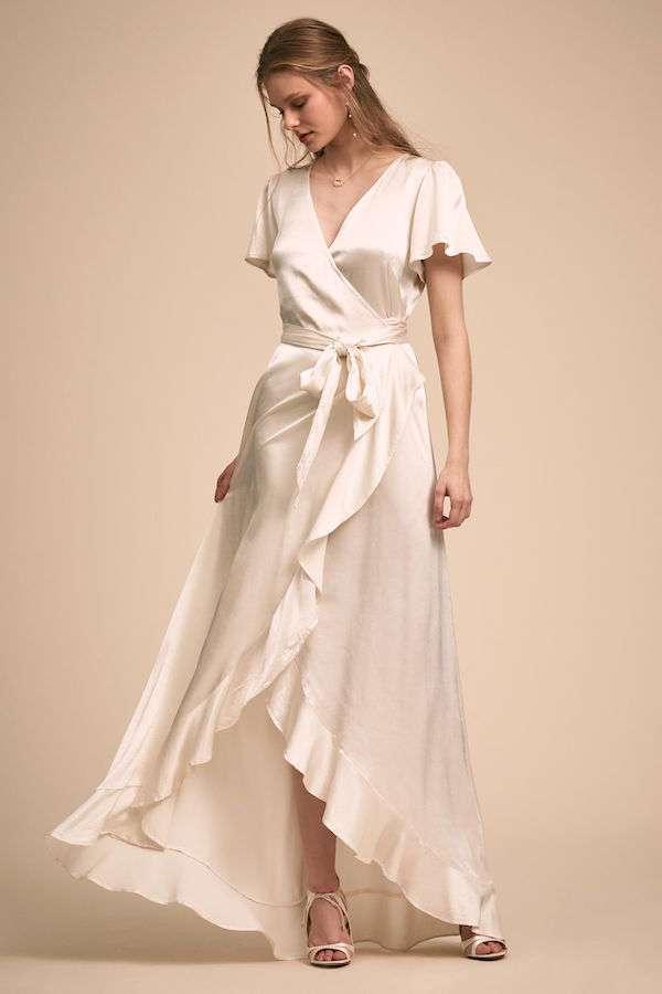 BHLDN Saten Belden Bağlamalı Fırfırlı Elbise
