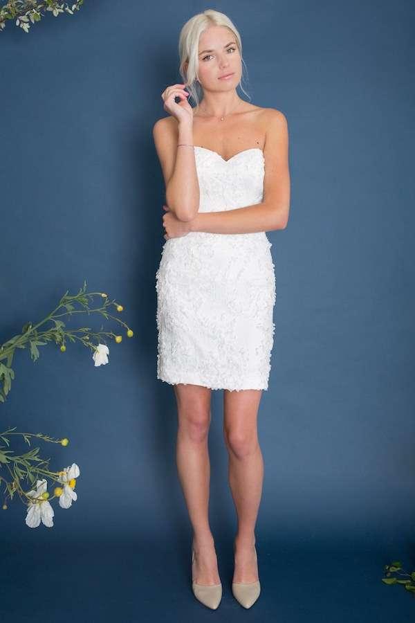 Lace & Liberty Straplez Mini Beyaz Elbise