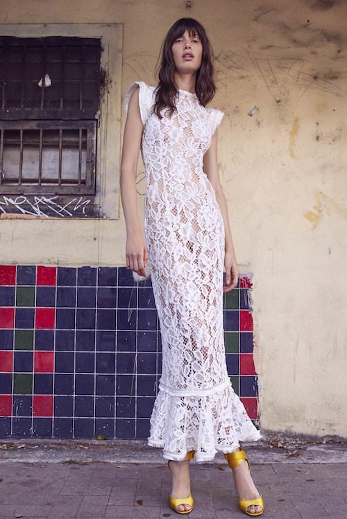 Alexis Yüksek Yakalı Beyaz Dantel Midi Elbise