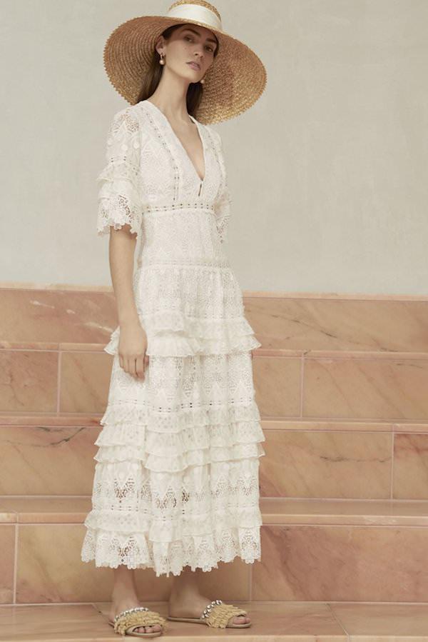 Alexis Midi Kollu Katlı Etekli Güpur Beyaz Elbise
