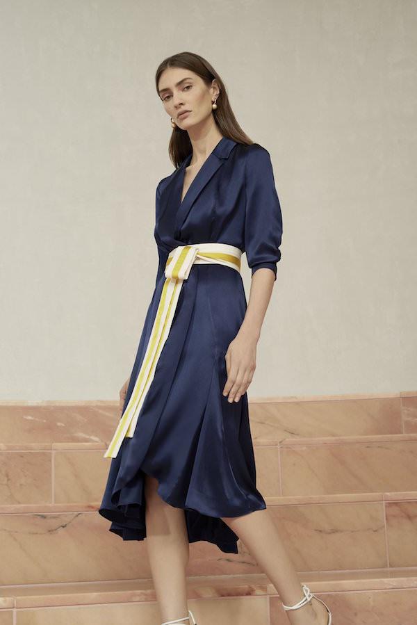 Alexis Lacivert Saten Kruvaze Elbise