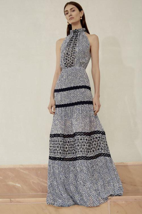 Alexis Yüksek Yakalı Desenli Maxi Elbise