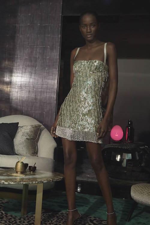 Alexis Gümüş & Altın Renkli Hareketli Mini Elbise