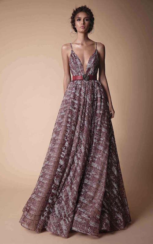 Berta Gümüş Detaylı Bordo Elbise