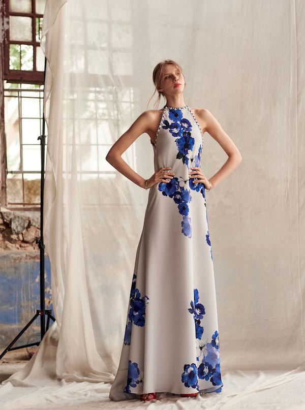 Costarellos Mavi Çiçek Desenli Uzun Elbise