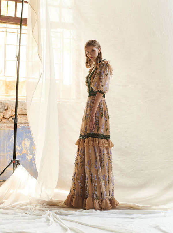 Costarellos Lavanta İşlemeli Bej Elbise