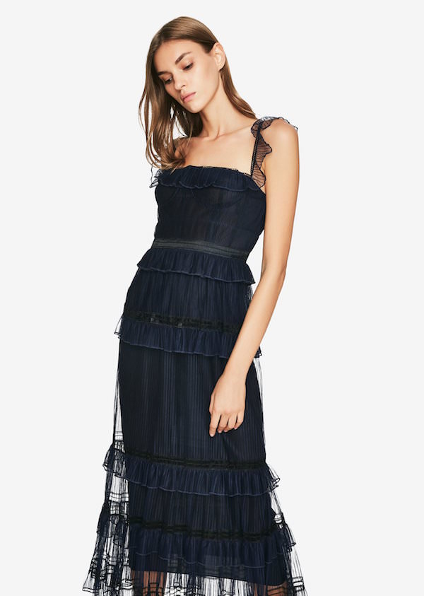 Jonathan Simkhai Lacivert Fırfır Detaylı Elbise