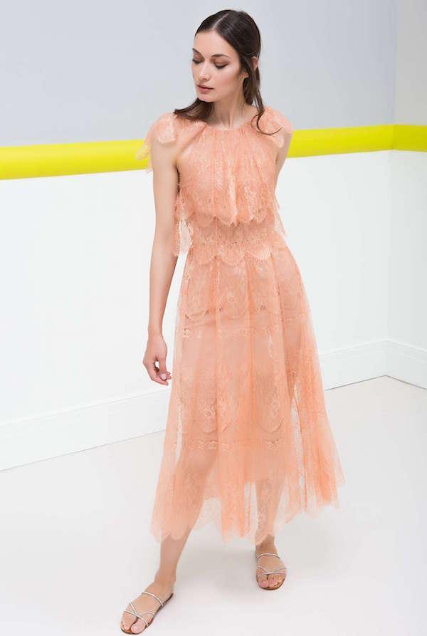 Maria Lucia Hohan Kat Kat Dantel Kumaşlı Somon Rengi Midi Elbise