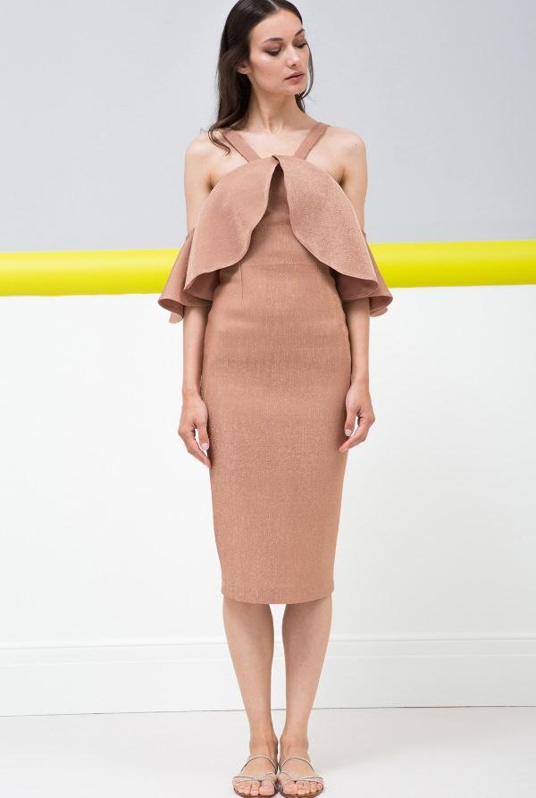 Maria Lucia Hohan Bej Rengi Diz Altı Kalem Elbise