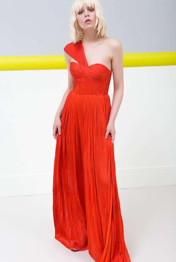 Maria Lucia Hohan Kalın Tek Omuz Şeritli Kırmızı Uzun Elbise
