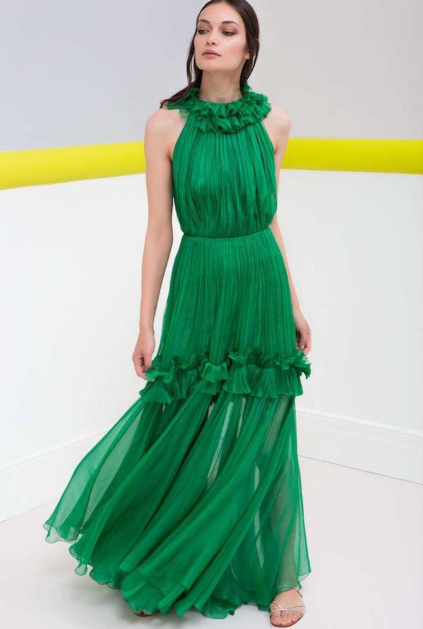 Maria Lucia Hohan Fırfır Detaylı & Halter Yakalı Yeşil Uzun Elbise