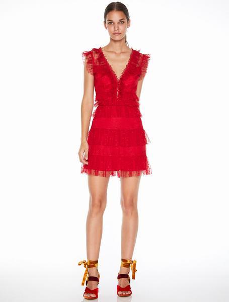 La Maison Talulah Kırmızı V Yaka Mini Elbise