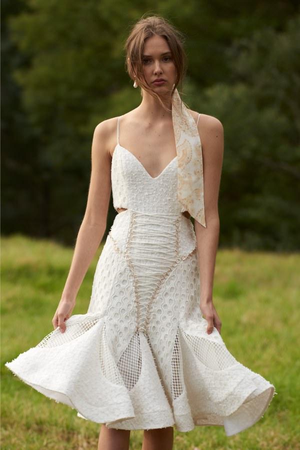 Thurley İp Askılı & Volanlı Etekli Beyaz Midi Elbise