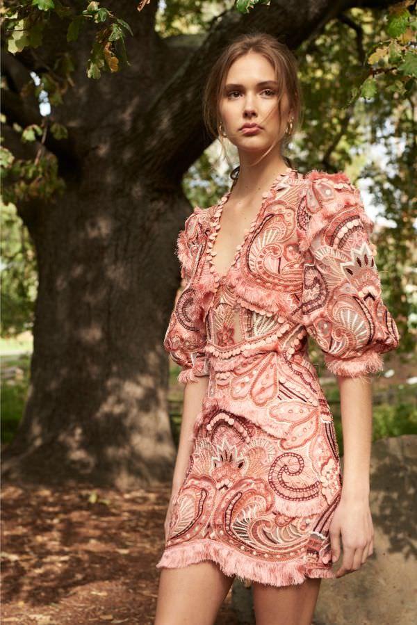 Thurley Bol İşlemeli Pembe Mini Elbise