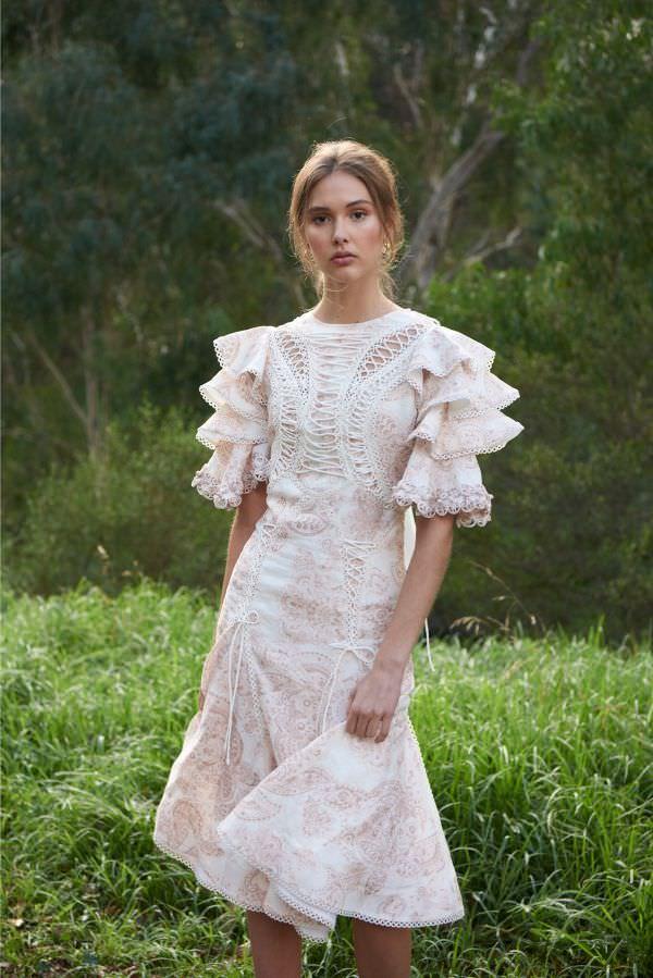Thurley Kolları Fırfır Detaylı Sıfır Yaka Midi Elbise