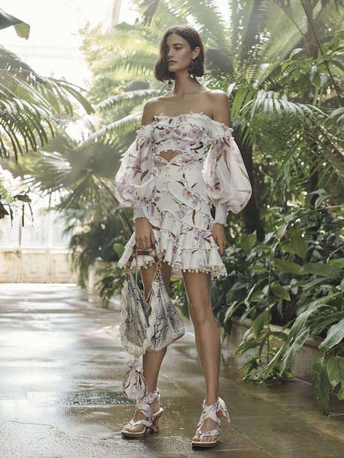 Zimmermann Çiçek Desenli Düşük Omuzlu Elbise