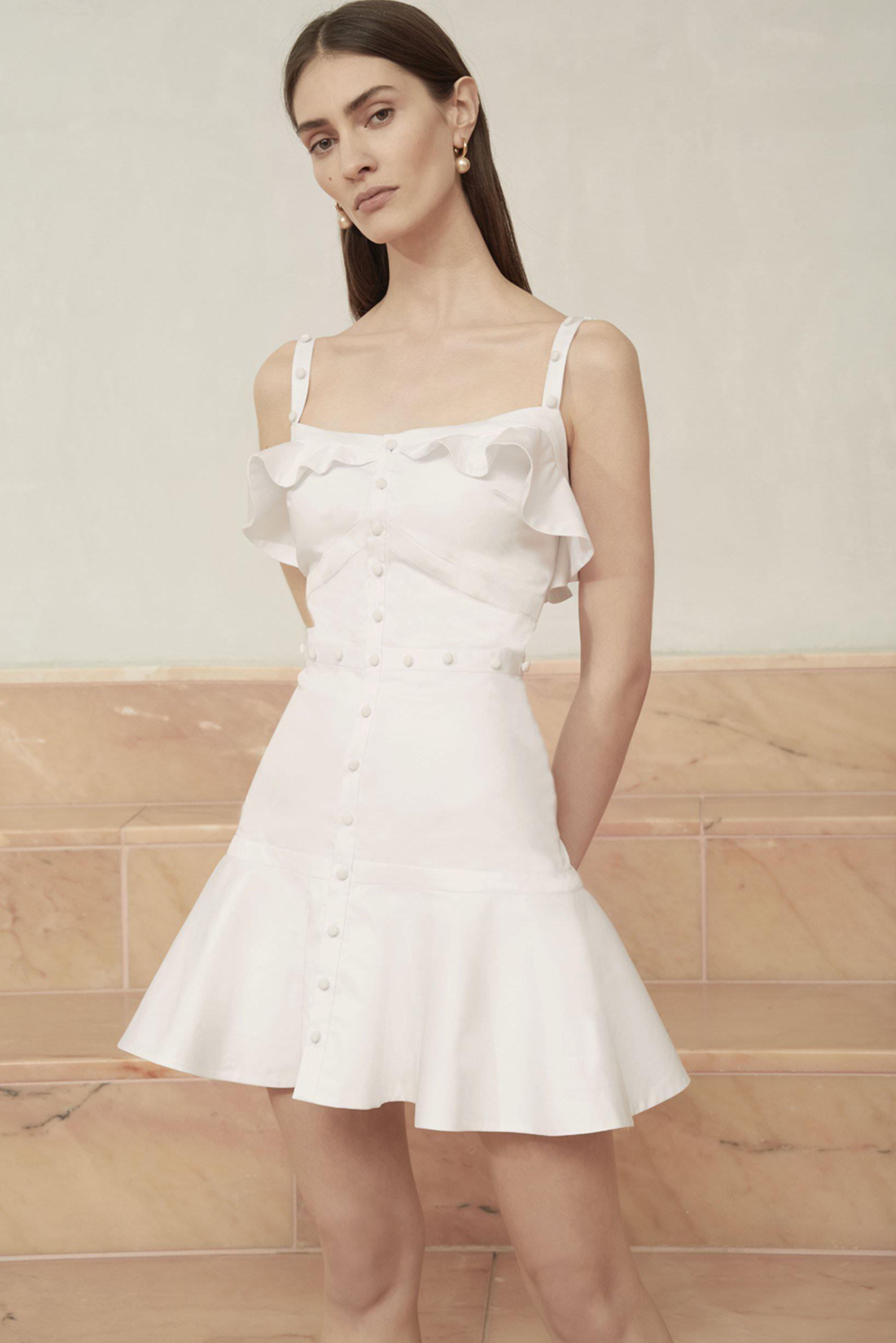 Alexis Mini Volanlı Etekli Beyaz Elbise
