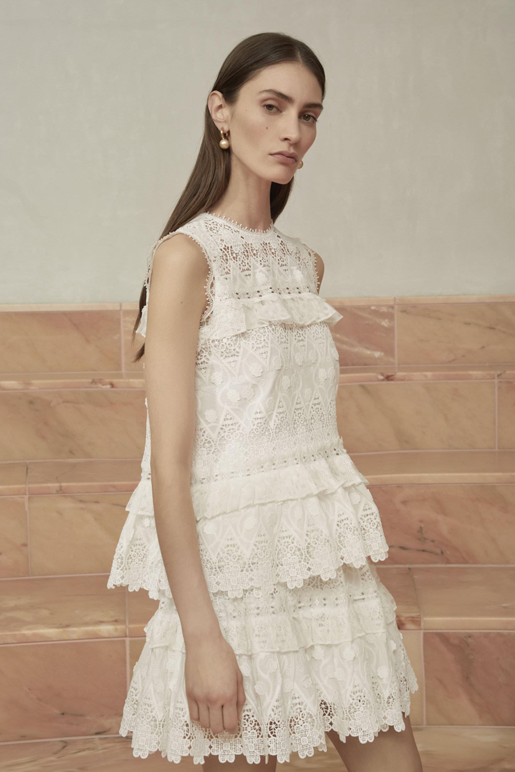 Alexis Sıfır Yaka Beyaz Güpur Mini Elbise