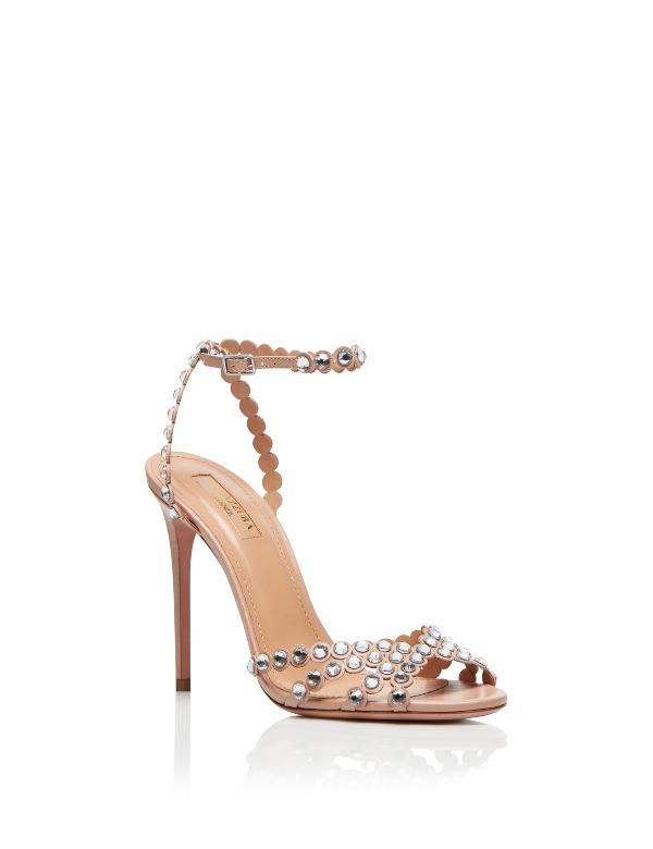Aquazzura Metal Zımbalı Ten Rengi Topuklu Sandalet