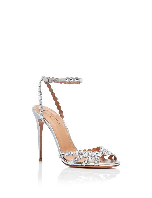 Aquazzura Metal Zımbalı Gümüş Rengi Topuklu Sandalet