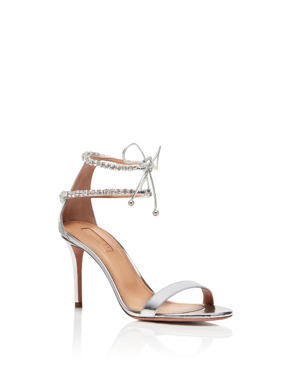 Aquazzura İnce Taşlı Çift Bantlı Gümüş Rengi Topuklu Sandalet
