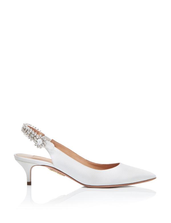 Aquazzura Arkası Açık & Taşlı Alçak Topuklu Ayakkabı