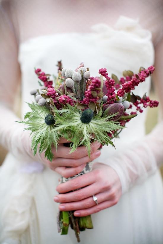 Bordo Yabani Çiçeklerden Bohem Gelin Buketi